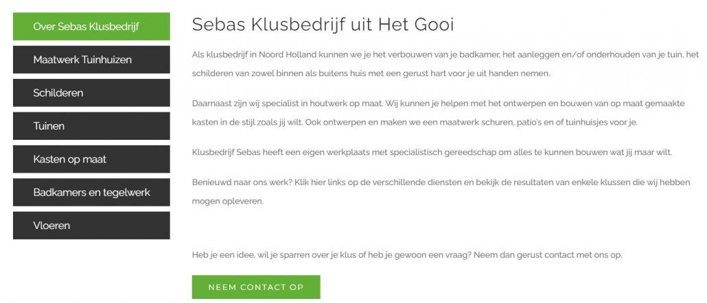 Website voor Klusbedrijf Sebas