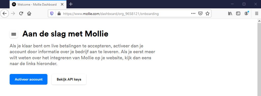 Mollie account activeren